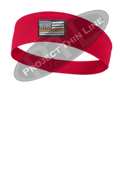 Red Thin Orange Line American Flag Moisture Wicking Competitor Headband