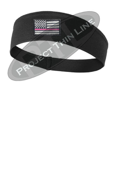 Black Thin Pink Line American Flag Moisture Wicking Competitor Headband