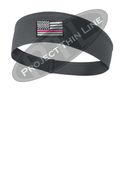 Charcoal Thin Pink Line American Flag Moisture Wicking Competitor Headband