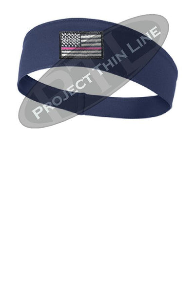 Navy Thin Pink Line American Flag Moisture Wicking Competitor Headband