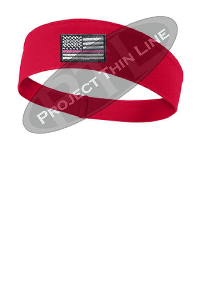 Red Thin Pink Line American Flag Moisture Wicking Competitor Headband