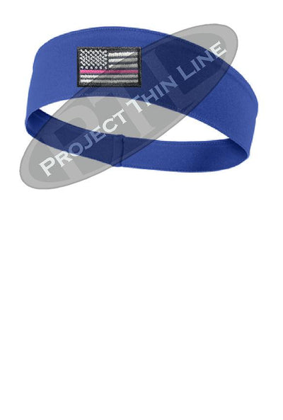 Royal Thin Pink Line American Flag Moisture Wicking Competitor Headband