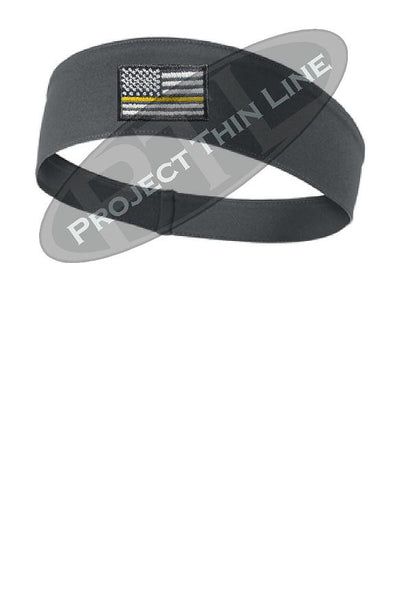 Charcoal Thin Yellow Line American Flag Moisture Wicking Competitor Headband