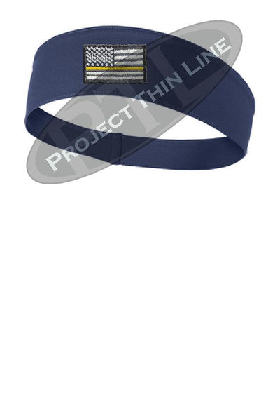 Navy Thin Yellow Line American Flag Moisture Wicking Competitor Headband