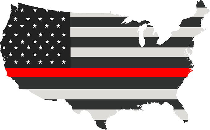 "5"" United States BW Thin Red Line State Shape Sticker Decal"