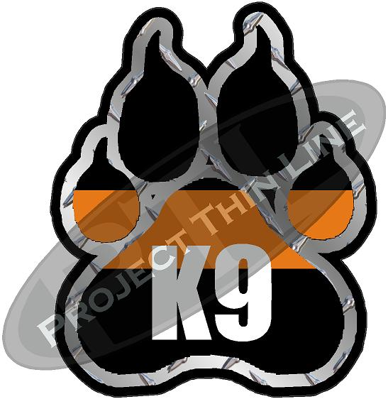 "4"" K9 Paw Thin Orange Line Shape Sticker"