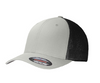 Grey / Black Embroidered Tactical / Subdued American Flag Flex Fit Fitted TRUCKER Hat