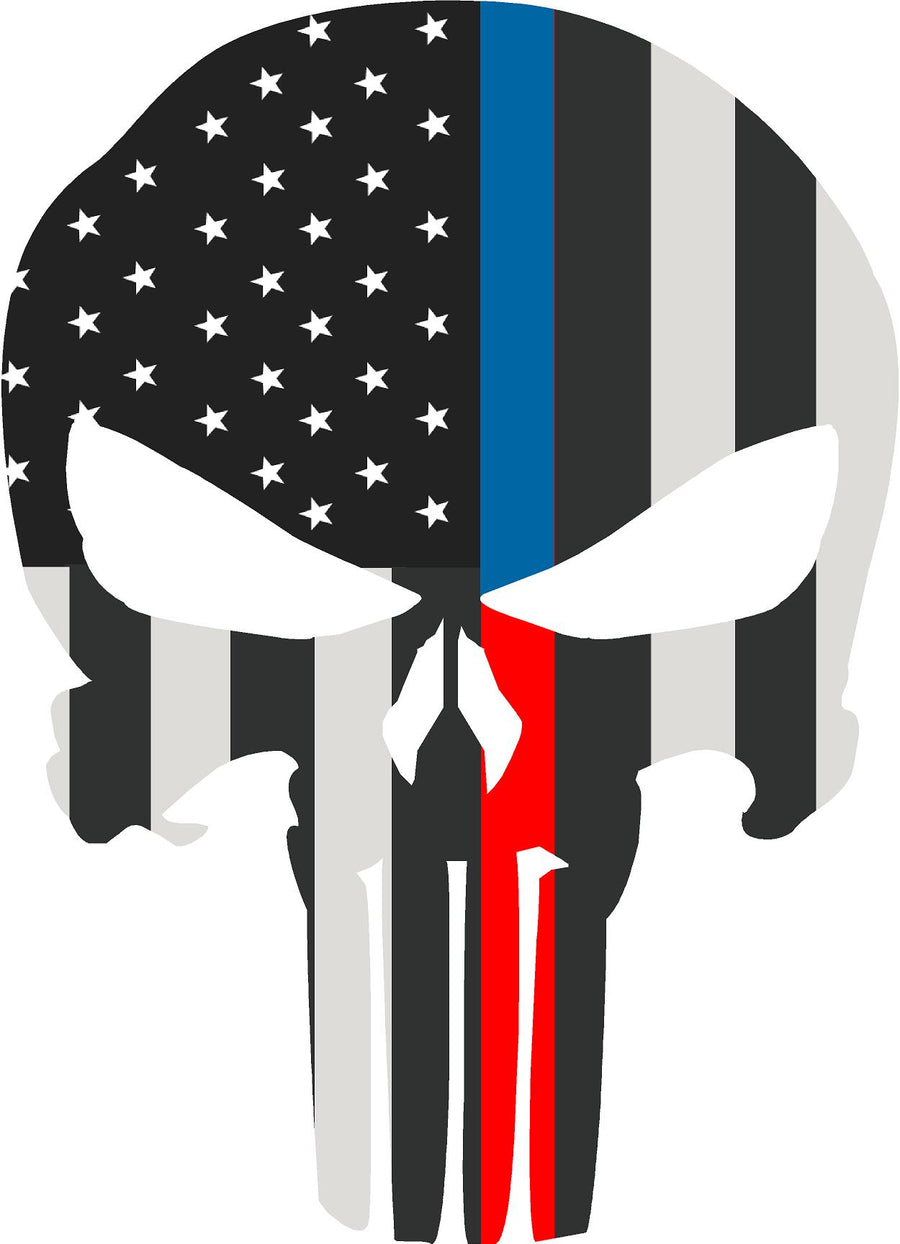 "5"" Skull Punisher BW Thin Blue / Red Line Shape Sticker Decal"
