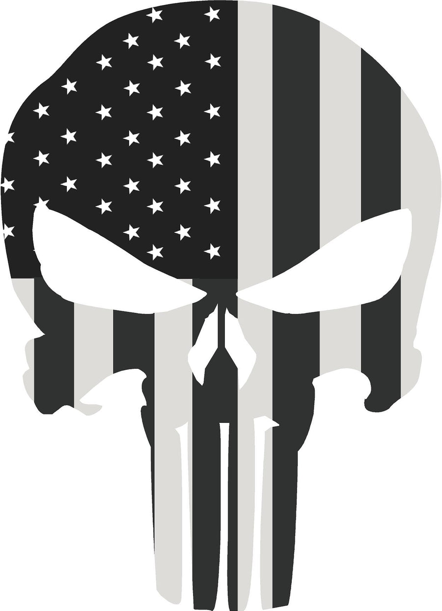 "5"" Skull Punisher BW Shape Sticker Decal"