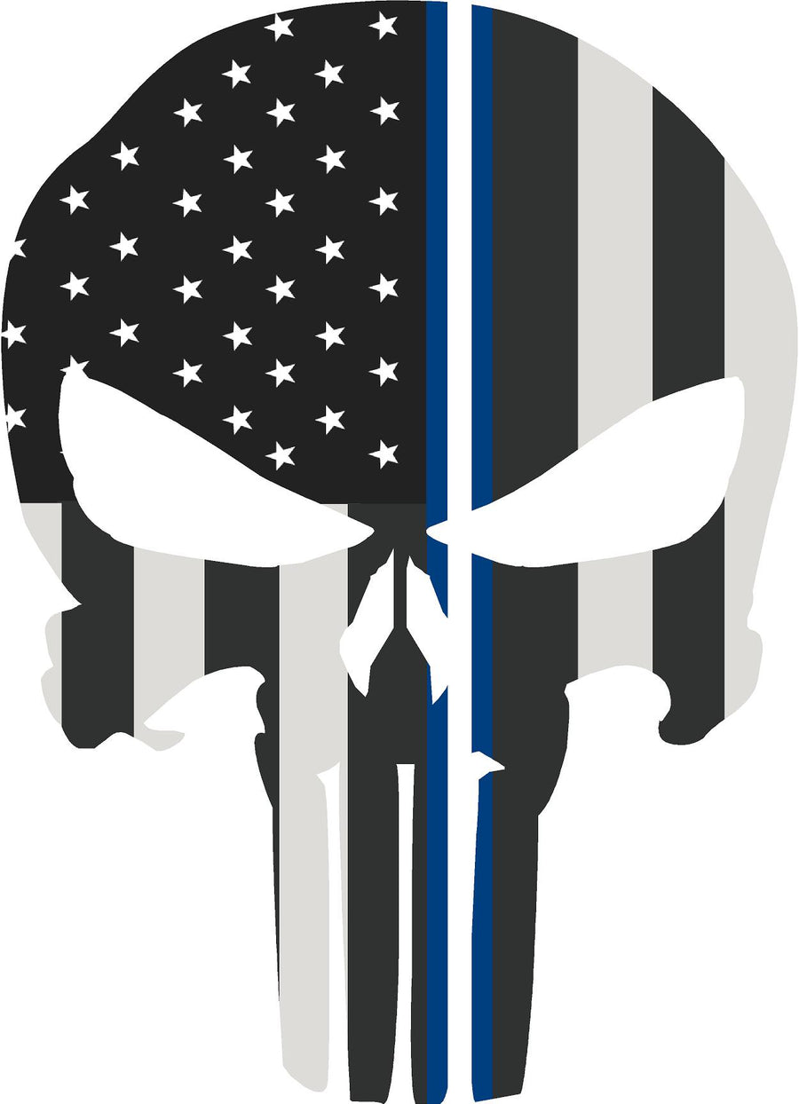 "5"" Skull Punisher BW Thin Blue White Line Shape Sticker Decal"