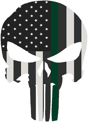 "5"" Skull Punisher BW Thin Green Line Shape Sticker Decal"