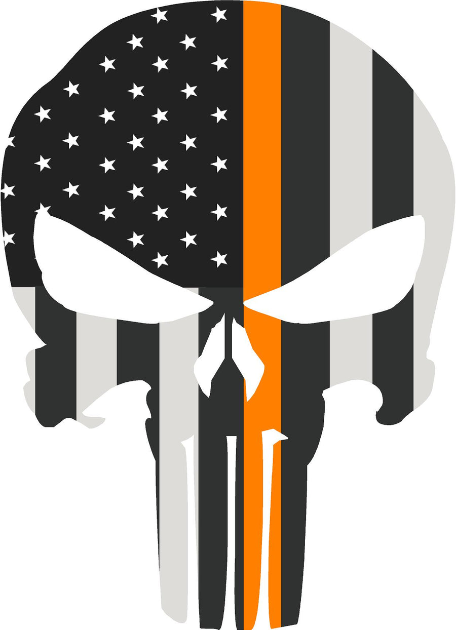 "5"" Skull Punisher BW Thin ORANGE Line Shape Sticker Decal"