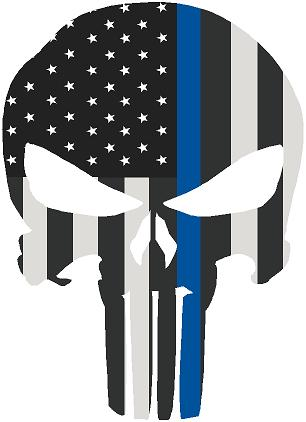 "5"" Skull Punisher BW Thin Blue Line Shape Sticker Decal"