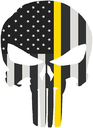 "5"" Skull Punisher BW Thin YELLOW Line Shape Sticker Decal"