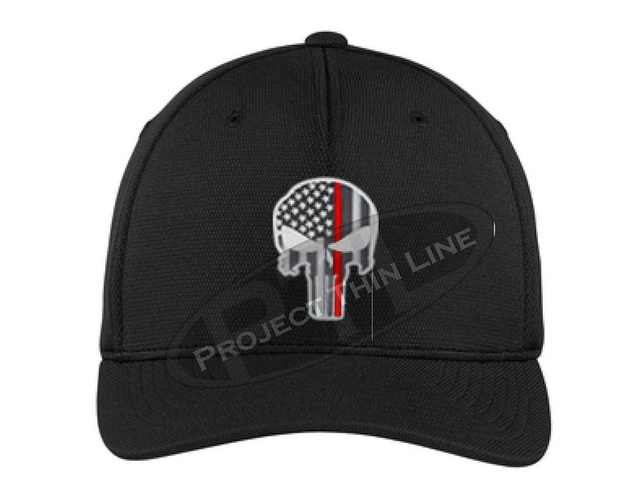 Black Embroidered Thin Red Line Punisher Skull Fitted TRUCKER Flex Fit Hat