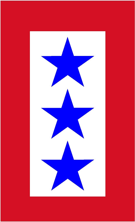 "5""-  3 Service Star Flag Sticker - Green line"