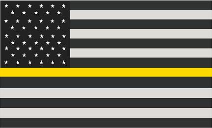 "5"" American Subdued Flag Thin Yellow Line Shape Sticker Decal"