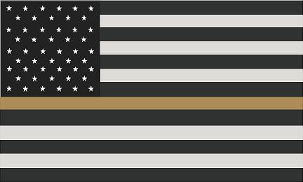 "5"" American Subdued Flag Thin GOLD Line Shape Sticker Decal"