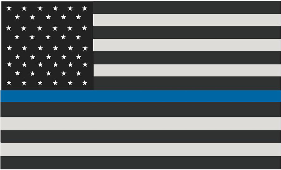 "5"" American Subdued Flag Thin Blue Line Shape Sticker Decal"
