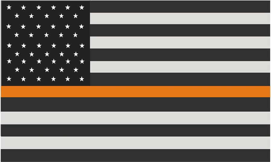 "5"" American Subdued Flag Thin ORANGE Line Shape Sticker Decal"