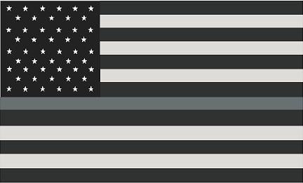 "5"" American Subdued Flag Thin SILVER Line Shape Sticker Decal"