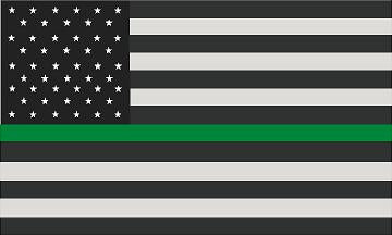 "5"" American Subdued Flag Thin Green Line Shape Sticker Decal"