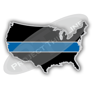 United States Shaped Lapel Pin Filled with Black and a Thin Blue Line