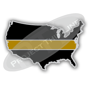 United States Shape Black with Thin GOLD Line Cloisonne (hard enamel) Lapel Tie Tack Pin