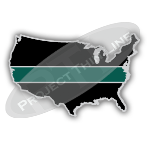 United States Shaped Lapel Pin Filled with Black and a Thin GREEN Line
