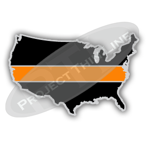 United States Shaped Lapel Pin Filled with Black and a Thin ORANGE Line