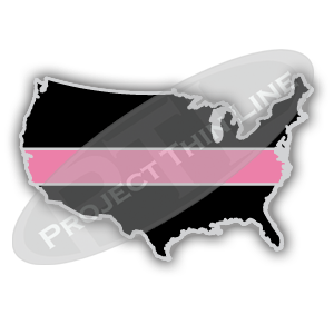 United States Shaped Lapel Pin Filled with Black and a Thin PINK Line