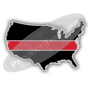 United States Shaped Lapel Pin Filled with Black and a Thin RED Line