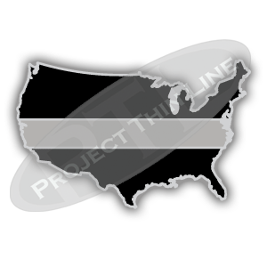 United States Shaped Lapel Pin Filled with Black and a Thin SILVER Line