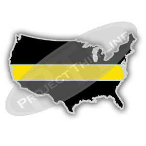 United States Shaped Lapel Pin Filled with Black and a Thin YELLOW Line