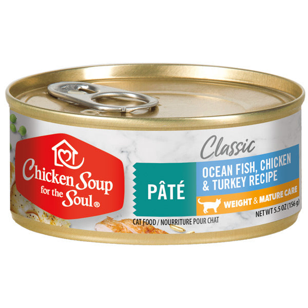Chicken Soup For The Soul Weight & Mature Recipe with Ocean Fish, Chicken & Turkey Canned Cat Food