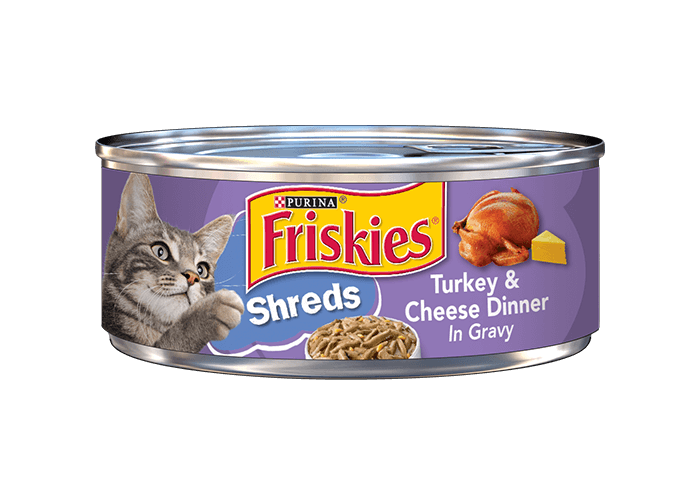 Friskies Savory Shreds Turkey And Cheese Dinner In Gravy Canned Cat Food