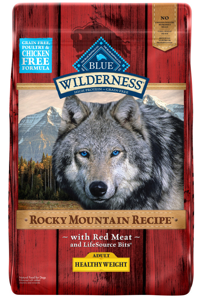 Blue Buffalo Wilderness Rocky Mountain Healthy Weight Grain Free Natural Red Meat High Protein Recipe Adult Dry Dog Food