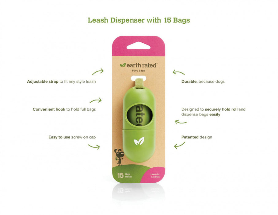 Earth Rated Leash Dispenser with Unscented Waste Bags