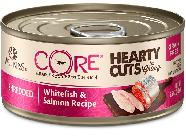 Wellness CORE Natural Grain Free Hearty Cuts White Fish and Salmon Canned Cat Food