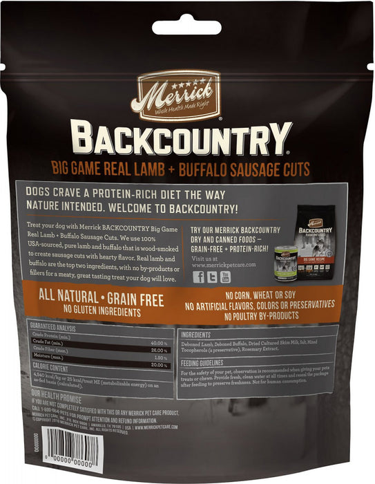 Merrick Backcountry Big Game Grain Free Real Lamb & Buffalo Sausage Cuts Dog Treats