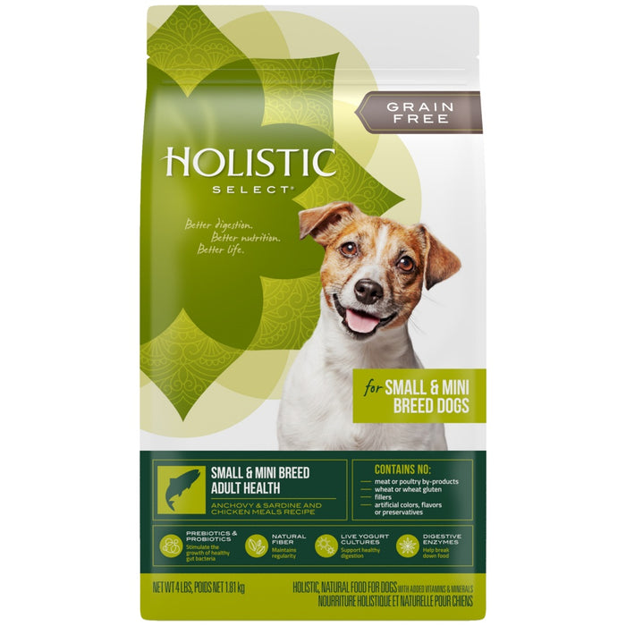 Holistic Select Natural Grain Free Small and Mini Breed Anchovy, Sardine, and Chicken Meal Dry Dog Food