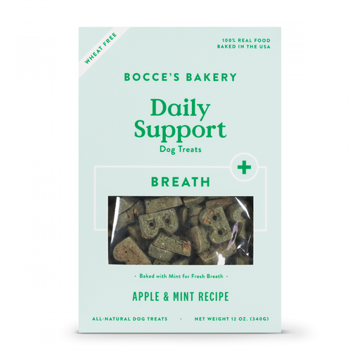 Bocce's Bakery Daily Support Apple & Mint Recipe Functional Breath Biscuit Dog Treats