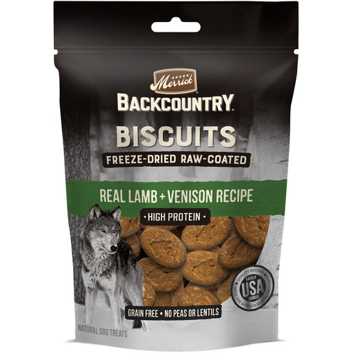 Merrick Backcountry Grain Free Lamb & Venison Recipe Freeze Dried Raw Coated Biscuit Dog Treats