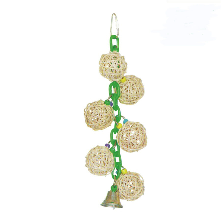 A & E Happy Beaks Vine Balls On Chain With Bell Bird Cage Accessory