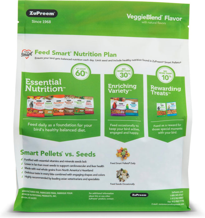 Zupreem VeggieBlend Flavor Food with Natural Flavors for Medium Birds