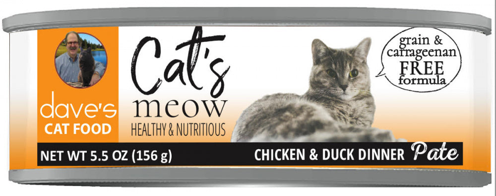 Dave's Pet Food Grain Free Cats Meow Chicken with Duck Canned Cat Food