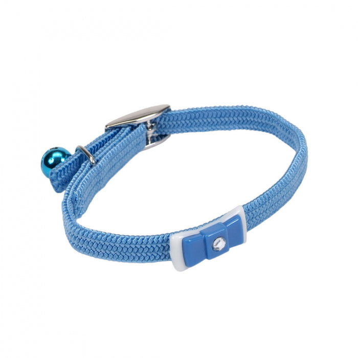 Coastal Pet Products Lil Pals Elasticized Safety Kitten Collar with Jeweled Bow Light Blue