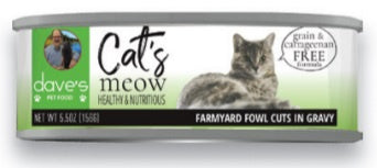 Dave's Pet Food Grain Free Cats Meow Farmyard Fowl Canned Cat Food