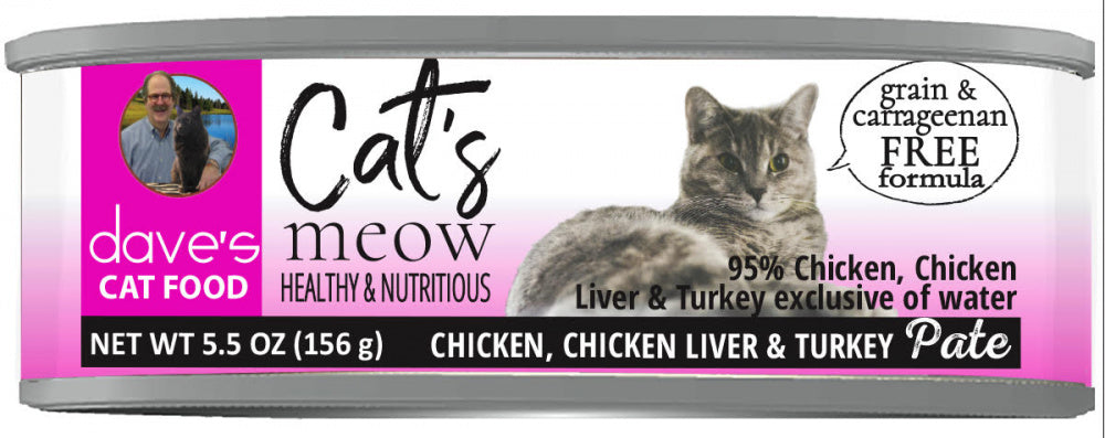 Dave's 95% Chicken, Chicken Liver & Turkey Pate Canned Cat Food