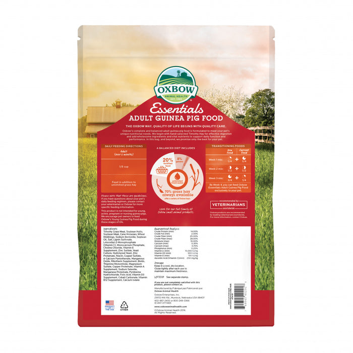 Oxbow Animal Health Essentials Adult Guinea Pig Food All Natural Adult Guinea Pig Pellets